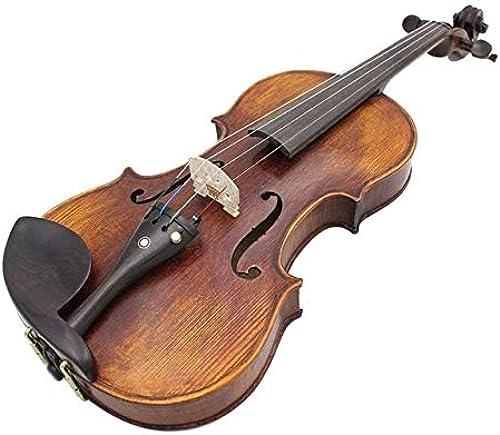 XuBa 4-teiliges Set Massivholz Handarbeit Violine Antik Hochglanz Akustik Fiddle Fall Brasilianischer Anis Bogen Kolophonium Kinder Lernspielzeug Lernspielzeug Solidwood