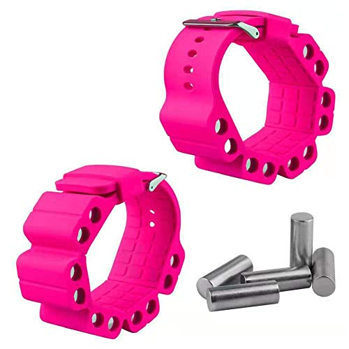 Josietomy Gewichtsarmband, verstellbares Gewicht, Yoga-Fitness-Armband, Handgelenk-Trainingsarmband, Sandsack, 2 Stück rose