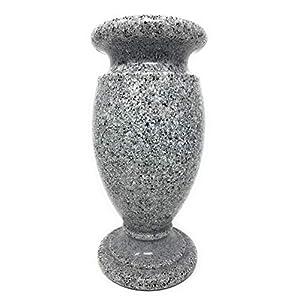 Optimum Memorial Cemetery Flower Vase, Simulated Light Grey Granite, Plastic