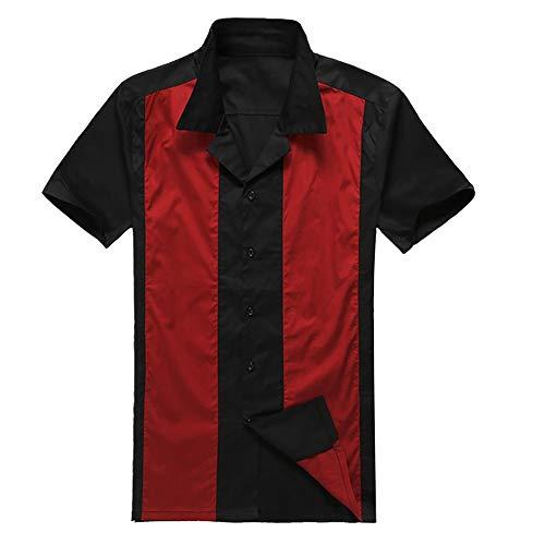 Preisvergleich Produktbild Sikungjlk Herren Kurzarmhemd Kontrastfarbe Stitching Hemd Punk Hip Hop 50er Retro Herren Baumwolle Kurzarm Hemd Button Down Shirts,  baumwolle,  rot,  XXX-Large