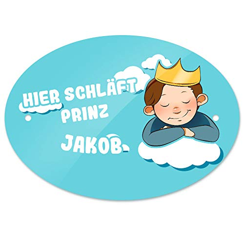 Eurofoto Türschild mit Namen Jakob und Prinz-Motiv - Hier schläft Prinz Jakob - | Kinderzimmer-Schild