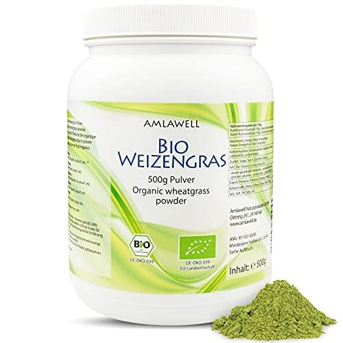 AMLAWELL Polvo de hierba de trigo orgánico, 500 g, sin gluten, con valiosas vitaminas, oligoelementos, minerales