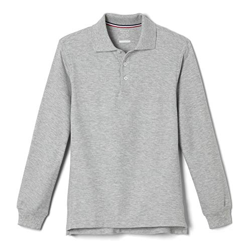 French Toast Little Boys' Long-Sleeve Pique Polo Shirt, Grey, Small/6-7