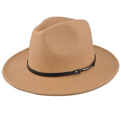 EINSKEY Women's Felt Fedora Hat, Wide Brim Panama Hat with Belt Buckle Trilby Hat Camel