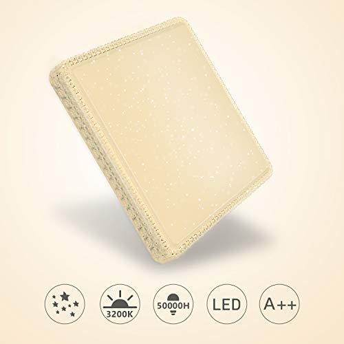 Hengda LED Deckenleuchte, 60W 4800Lm Deckenlampe 55 * 55 * 11.5cm, Warmweiß 3200K, Flimmerfreie Led Bürodeckenleuchte flach Wohnzimmerlampe, IP 44 Wasserdicht