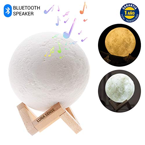 Music Luna Lampe, von Luna Sense Nachttisch-und Tischlampe, 3D Moon, Bluetooth-Lautsprecher und USB-Ladegerät-Tischlampe mit dimmbarem Touch-LED-Licht. Nachtlampe für Kinder,Nacht und Schlafzimmer