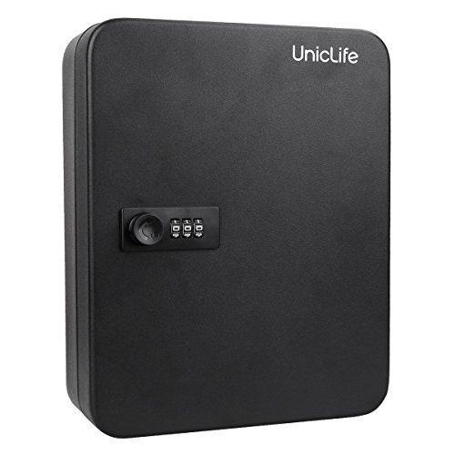 Uniclife 48 Key Cabinet Steel Security Lock Box with Combination Lock,Black,Wall Mount