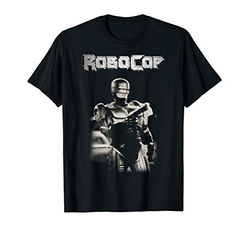 Official RoboCop Black And White Action Pose Logo Poster T-Shirt, Men or Women