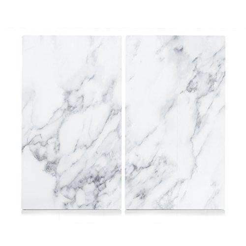 Zeller 26312 Herdabdeck-/Schneideplatten Marmor, Glas, weiß, 30 x 52 x 1 cm, 2 Einheiten