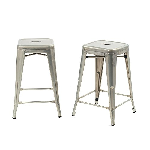 Buschman Set of 2 Galvanized 24 Inch Counter Height Metal Bar Stools, Indoor/Outdoor, Stackable