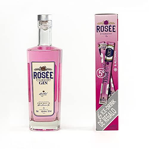 Rosée Gin Rosée Premium 700Ml + 6 Flases Hielo 65Ml | Ginebra Rosa Premium Triple Destilación | - 1090 ml