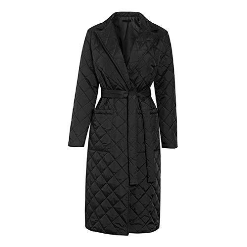 #N/A/a Abrigo largo de invierno con patrón de rombos fajas casuales Parkas mujeres bolsillos profundos a medida cuello elegante prendas de vestir - Negro S