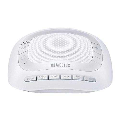 HoMedics White Noise Sound Machine | Portable Sleep Therapy for Home, Office, Baby & Travel | 6 Relaxing & Soothing Nature Sounds, Battery or Adapter Charging Options, Auto-Off Timer