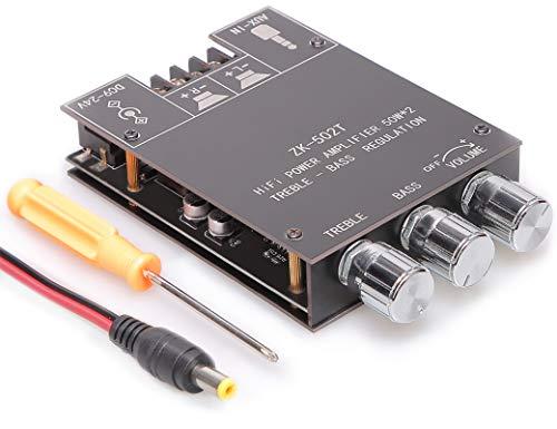 OWAYKEY Bluetooth 50 W + 50 W estéreo amplificador de audio con botones altos y bajos, entradas Bluetooth y AUX, BT 5.0 AMP Junta para DIY Altavoces inalámbricos, fácil instalación y sin contraseña