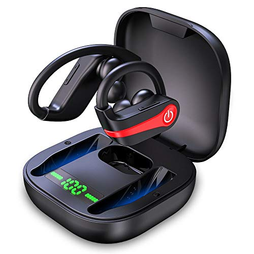 Wireless Earbuds, Motast Bluetooth 5.1 Sport Headphones IP8 Waterproof 40H Playtime TWS Earhooks Headset with Charging Case Stereo Sound CVC8.0 Noise Cancelling Wireless Earphone for Running Gym