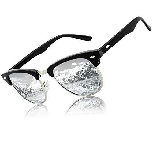CGID MJ56 Retro Vintage Sonnenbrille im angesagte 60er Browline-Style mit markantem Halbrahmen Sonnenbrille,Schwarzes-Silber