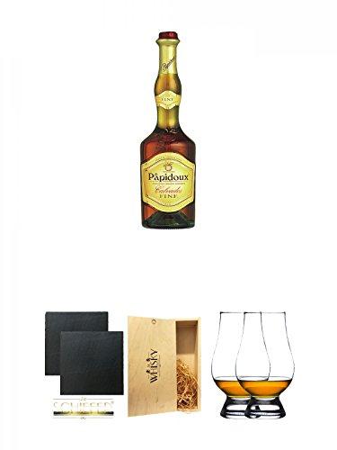 Papidoux Calvados Fine Frankreich 0,7 Liter + Schiefer Glasuntersetzer eckig ca. 9,5 cm Ø 2 Stück + 1a Whisky Holzbox für 2 Flaschen mit Schiebedeckel + The Glencairn Glass Whisky Glas Stölzle 2 Stück