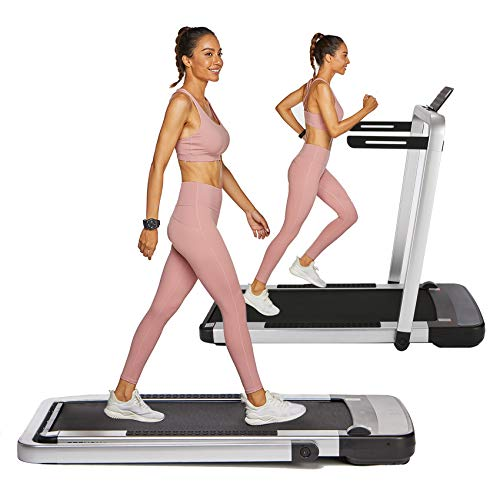 OppsDecor Under Desk Treadmill 2in1 Pad Treadmill Folding Electric Treadmill Remote Control Walking Running Machine with APP for Home Office Workout Indoor Exercise Machine (Silver)