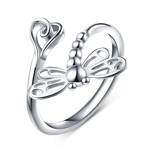 925 Sterling Silver Open Heart Dragonfly Rings for Women Birthday Gift (Resizable Ring)