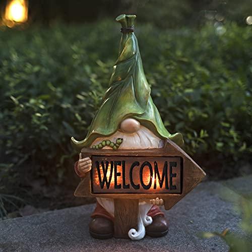 LA Jolie Muse Statue da Giardino in Resina,Gnomo di Natale Tomte con Welcome Cartello con Luci LED Solari,Decorazioni per Esterni