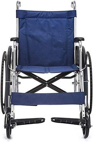 HYY-YY Silla de ruedas de acero, marco portátil y plegable, silla de ruedas con dispositivo de movilidad, altura del respaldo de 45,7 cm, azul, adecuado para personas con discapacidad