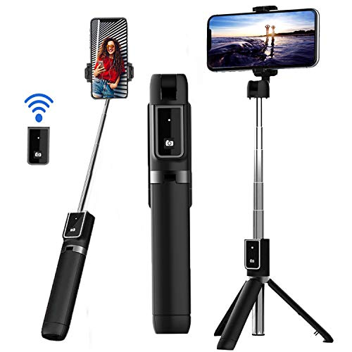 Selfie Stick Tripod, Extendable Bluetooth Selfie Stick with Detachable Wireless Remote and Tripod Stand for iPhone 11/11 pro/X/8/7/6s/6, Galaxy S10/S9/S8/S7/Note 9/8, Android and More