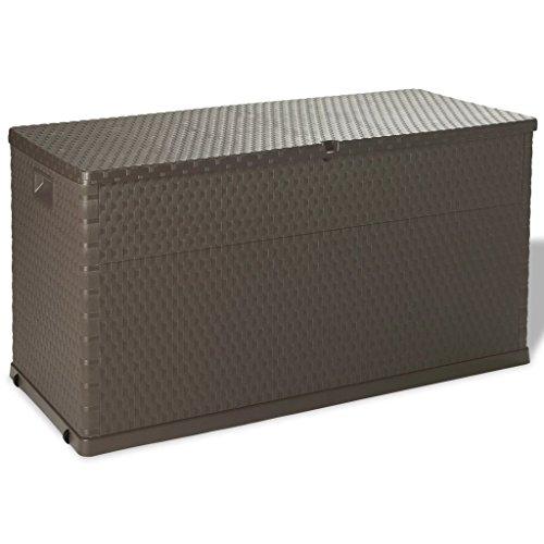 Tidyard Garden Gartenbox Kissenbox Aufbewahrungsbox 420 L,Garten Truhe Tischtruhe Geeignet Gartentruhe Geräteboxfür den Innen- und Außenbereich 120 x 56 x 63 cm (L x B x H),Polypropylen Braun