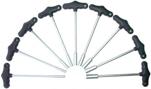 9-tlg. Steckschraubendreher mit Quergriff (T-Griff) Sechskant-Schraubendreher für Außensechskant Schrauben SW 6mm, 7mm, 8mm, 9mm, 10mm, 11mm, 12mm, 13mm, 14mm (Chrom-Vanadium-Stahl)