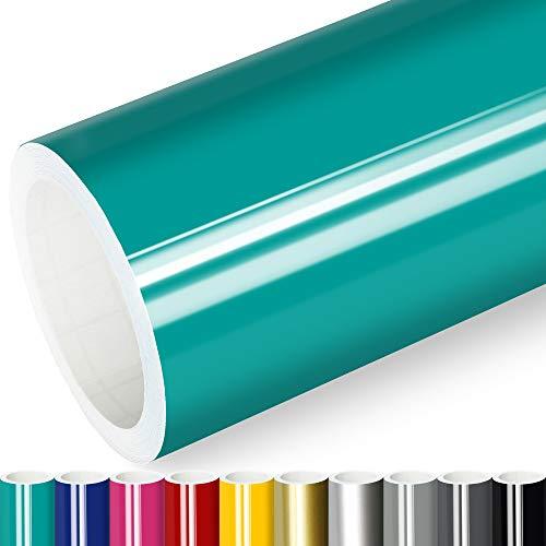 Actinium® Klebefolie 6€/m² Türkis Glanz | 5m x 0,63m selbstklebende Folie glänzend | Möbelfolie selbstklebend Küchenfolie Plotterfolie
