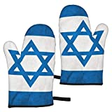 AEMAPE Israel Flag Oven Mitts 2pcs Guantes de microondas - Guantes de Horno Resistentes al Calor conAgarre Antideslizante para Colgar en la Parrilla para Hornear
