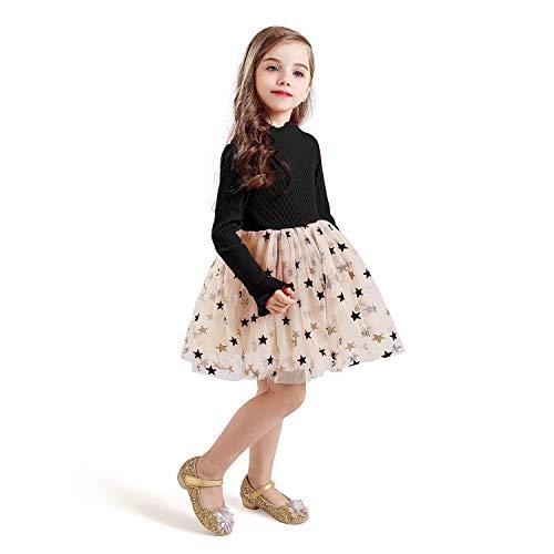 TTYAOVO Vestido de Tul de Fiesta de Princesa de Manga Larga para Niñas Talla(140) 6-7 años 671 Negro