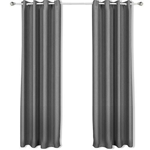 SONGMICS Vorhänge, 2 Stück, Gardinen, Verdunklungsgardinen mit Ösen, pro Stück 145 x 245 cm, silbergrau LRB245G-2