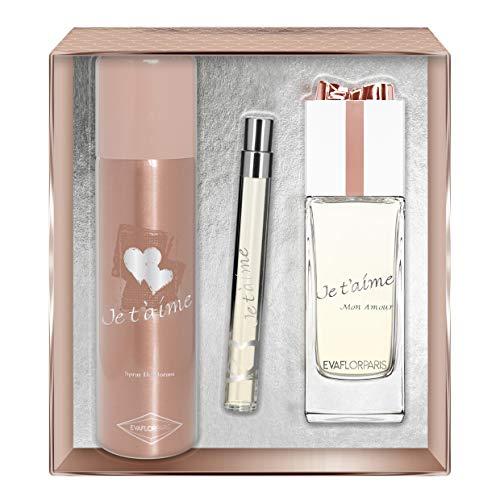 EVAFLORPARIS Je T'Aime Mon Amour Coffret pour Femme Eau de Parfum 100 ml + Déodorant 150 ml + Vapo de Sac 12 ml 1 Unité
