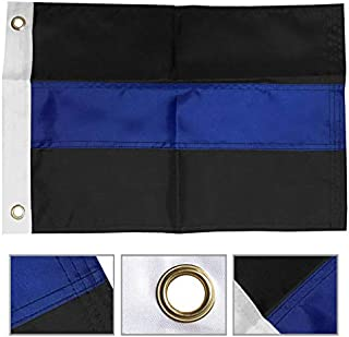 ALBATROS 12 in x 18 in Embroidered Sewn Police Thin Blue Line 210D Nylon Boat Car Flag for Home and Parades, Official Party, All Weather Indoors Outdoors