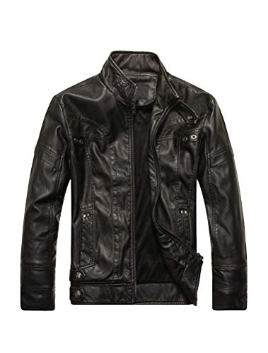 PASOK Men's Faux Leather Jacket Vintage Stand Collar Motorcycle PU Leather Outwear Coat Black M