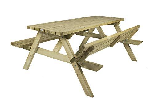 MaximaVida Picknicktisch Vilnius 120 cm, 40 mm FSC Fichtenholz, druckimprägniert, klappbare Sitze