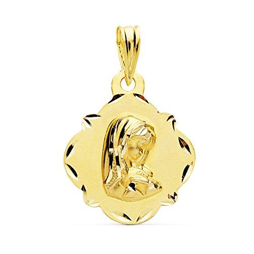 Medalla Virgen Niña Tallada Matizada Oro Amarillo 18 Kilates 16mm - Joya Personalizable, Grabado gratuito