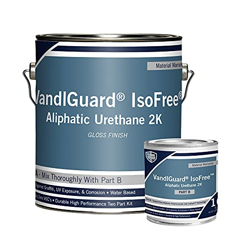 Rain Guard Water Sealers VG-7042 VandlGuard IsoFree Aliphatic 2K Clear High Gloss Finish Non-Sacrificial Graffiti Barrier That Covers up to 300 Sq. Ft. 1 Gallon A and B Kit