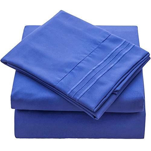 Juego de ropa de cama de Veeyoo, antiarrugas, hipoalergénico, suave, 3piezas, color blanco, poliéster, azul imperial, UK King