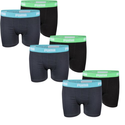 Puma Junior Boys Boxershort Basic Boxer, Größe 164 (XL) - 6er Pack, Farbe india ink/turquo (376)