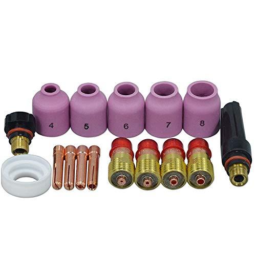 YH-KE Drill Chucks TIG Welding Torches Stubby Gas Lens Collets Alumina Nozzles Back Cap Kit for SR WP 17 18 26 Series 16pcs TOOL