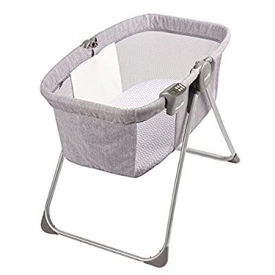 "Evenflo Loft Portable Bassinet, for Boys & Girls, Bluetooth Speaker to Play Music, Soft Nightlight, Mesh Panels, Room-Temperature Monitor, 20-Pound Capacity, Gray Melange, 20.5"" W x 4"" D x 26.75"" H"