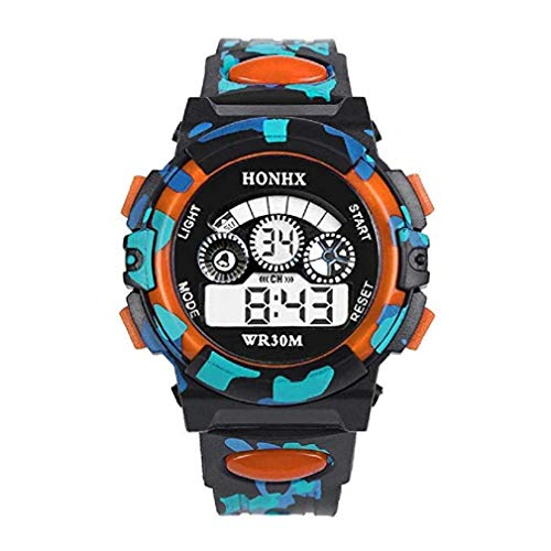 Liquidación! Scpink Reloj para niños, camuflaje exterior multifunción impermeable deportes relojes de pulsera electrónicos cronómetro (Naranja)