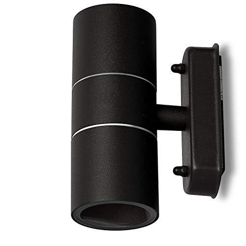 LED Wandleuchte Außen schwarz 7 Watt warmweiß – IP44 Up und Down Außen-Leuchte aus Aluminium – 2x GU10 Außenstrahler Garten-Lampe