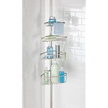 mDesign Bathroom Shower Storage Constant Tension Corner Pole Caddy – Adjustable Height - 4 Positionable Baskets - for Organizing and Containing Hand Soap, Body Wash, Wash Cloths, Razors – Satin