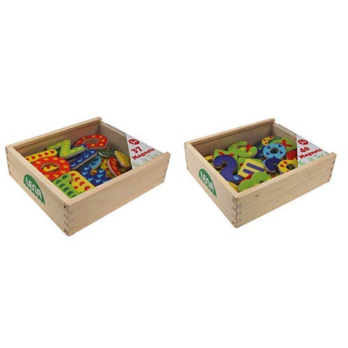 Lena 65823 - Holz Magnet Buchstaben in Holzkiste, Lernset mit 37 magnetischen Holzbuchstaben in Kiste aus Holz, Magnetbuchstaben Set & 65824 - Holz Magnet Zahlen und Rechenzeichen in Holzkiste, Set