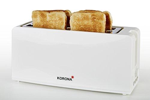 Korona 21043 Toaster in weiß - 4 Scheiben Langschlitz mit Brötchen aufsatz, lang