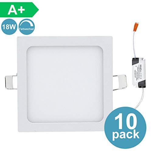 Hengda 10X 18w Panel Downlight LED Square Plano | LED 3 en 1 (Incluido Blanco cálido, Blanco neutro, Blanco frío) | 3200k-6500k para salón o dormitorio etc [Clase de eficiencia energética A+]
