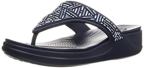 Crocs Women's Monterey Embellished Wedge Flip   Wedge Sandals for Women, Blue, 5 USWomen
