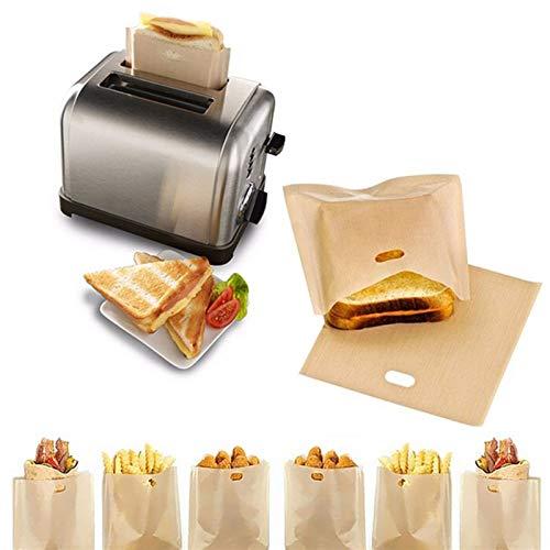 Bolsas de tostadora de 2 piezas para sándwiches de queso a la parrilla hechos fáciles reutilizables antiadherentes horneados pan bolsas de pan